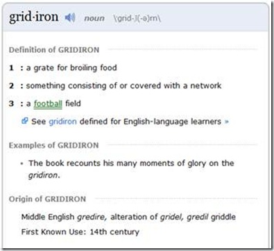 gridiron in Merriam Webster