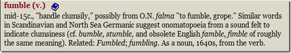 fumble in Online Etymology Dictionary